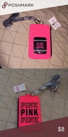 PINK Lanyard Neon pick NWT lanyard/card holder PINK Accessories Key & Card Holders