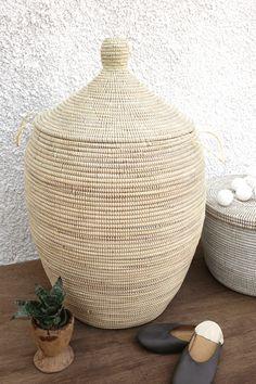 Handmade Laundry Basket (XL) in plain ivory / African Basket / Laundry hamper