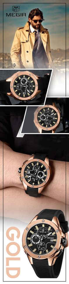 Men's Gold Sport Luxury watches at it's finest - Every minute counts! --Megir watch Timepiece chronograph sport luxury business casual - Men's fashion brand style affordable accessories #sportwatch #menswatches #watches #mensfashion