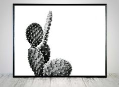 Black White Cactus Printable Cactus Art Print by CristylClear