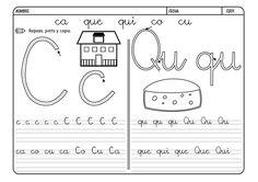 Fichas para repasar y trabajar la lectoescritura con las consonantes. Hoy las letras C y Q