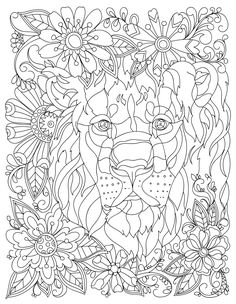 Lion Animal Adult Coloring Book Stress Relieving By LiltColoringBooks