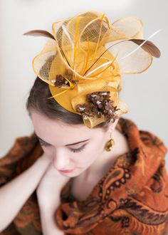 Yellow Fascinator Mustard Yellow fascinator by FascinatorsFirst 491d1582b2d4