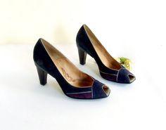 Vintage Blue Suede High Heels purple silver by TheWhitePelican, $26.00