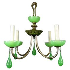 1stdibs - Circa 1930's green opaline glass chandelier explore items from 1,700  global dealers at 1stdibs.com