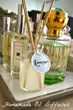DIY oil diffusers. Nice to know; I plan to make some rose- or jasmine- scented ones for the apartment.