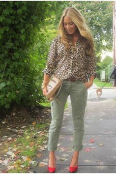 love green pants, love animal print tops, and camel purses...With a pop of pink in the heels!!