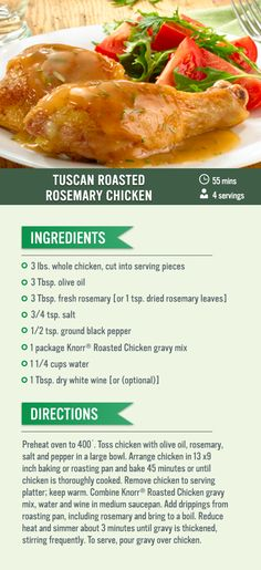 This recipe for juicy roasted chicken in a savory gravy is sure to be a hit at dinner tonight.