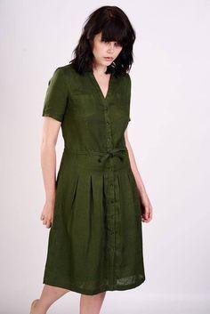 Eva Khaki Linen Dress