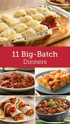 Looking to feed a crowd? From freezer-friendly dinners to make-ahead meals, these big-batch recipes are easy to make in bulk! Meals For A Crowd, Crowd Recipes, Meals For Large Groups, Dinner Party Recipes Make Ahead, Potluck Meals, Work Potluck, Freezer Meals, Freezer Recipes, Dinners To Make