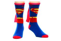 Show off your superpowers with Superman Cape Crew Socks for men. A red cape is attached to the back of blue socks with the Superman logo on the front in red and yellow. They make an easy costume, too. Cool superhero socks for men. Superman Suit, Superman Logo, Superman Cosplay, Men Cosplay, Superman Dc Comics, Harley Quinn, Superman Merchandise, Mens Cape, Socks