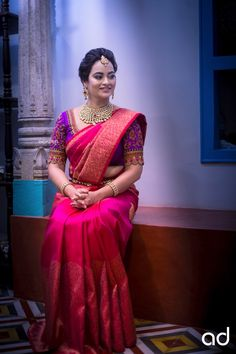 Saree Picks- Pink Saree- Part 2 Pattu Sarees Wedding, Wedding Saree Blouse Designs, Pattu Saree Blouse Designs, Half Saree Designs, Blouse Designs Silk, Designer Sarees Wedding, Bridal Sarees South Indian, Indian Bridal Outfits, Indian Bridal Fashion
