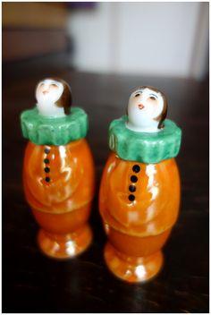 Vintage Noritake Art Deco Harlequin Clown Salt Pepper Shakers 1920s