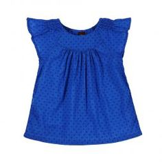 Swiss Dot Flutter Sleeve Top | In a rich blue inspired by vases in the Majorelle Garden of Marrakech, this flutter sleeve top is nothing but style.