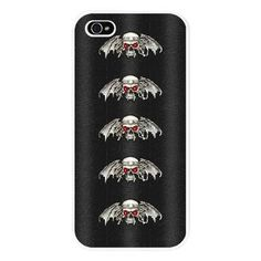 SOLD: Gothic Silver Skulls iPhone 5 Case.    A creepy, gothic design featuring a pattern of silver skulls with glowing red eyes set against a dark printed background simulating faux black leather. An ideal case for horror fans and lovers of goth.  $21.99  #iphones #iphonecases #Iphone5 #gothic #skulls
