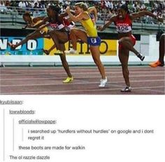 It's soooo funny to me because I'm a hurdler I would look like this without the hurdles omg Stupid Funny, Funny Cute, Haha Funny, Really Funny, Funny Memes, Jokes, Funny Stuff, Funny Things, Random Stuff