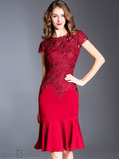 Buy Elegant Lace Slim Embroidered Falbala Mermaid Dress with High Quality and Lovely Service at DressSure.com