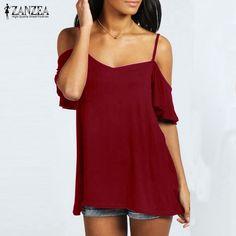 ZANZEA 2016 Summer Women Sexy Strapless Off-shoulder T-Shirt Slash Neck Short Sleeve Casual Solid Tee Tops Plus Size Blusas #Affiliate