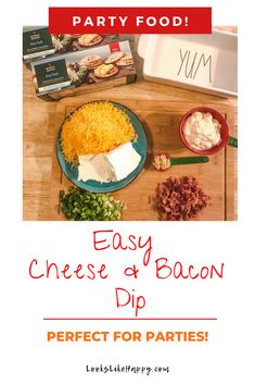 Easy Cheese & Bacon Dip | This crowd pleasing appetizer is easy to make AND it can be made in advance! Perfect for get togethers, pot lucks and tailgating!  #appetizer #dip