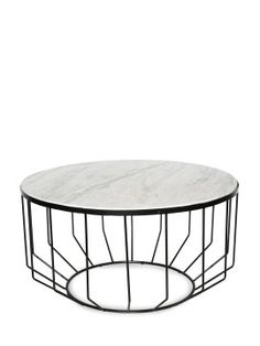 Willow Black Iron & Stone Side Table  81cm x 81cm x 43cm