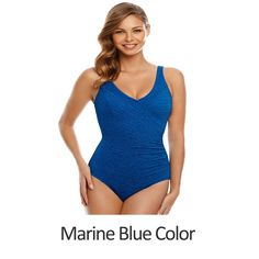 24c1a09498 Chlorine Resistant Swimsuits - Plus Size Swimwear - Krinkle Polyester  Surplice Plus Size Swimsuit - Available in 2 COLORS