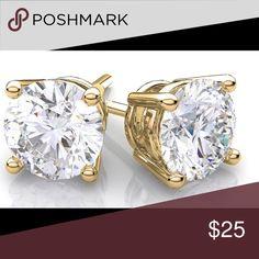 3 ctw Swarovski Crystal Earrings⚡️SALE⚡️ Perfect condition! 3 CTW Swarovski Crystal studs with gold! Swarovski Jewelry Earrings