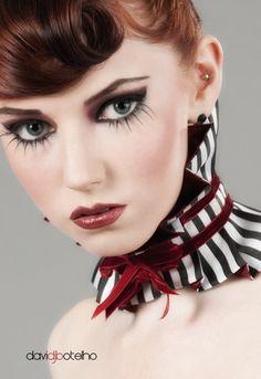 READY TO SHIP Seduction in Stripes-Circus neck ruffle/choker/collar-(black on black version)