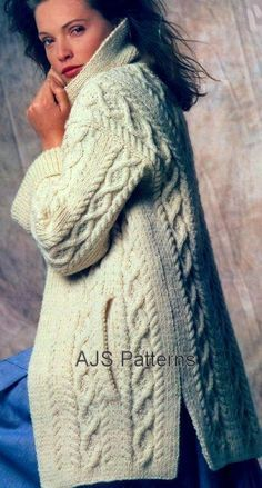 PDF Knitting Pattern for a Ladies Cabled Aran Jacket or Coat. on Etsy, $4.33 Aran Knitting Patterns, Free Knitting, Digital Pattern, Snug, Fur Coat, Turtle Neck, Etsy, Pairs, Wool