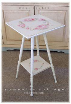 Shabby Vintage Romantic Roses Table - Debi Coules Romantic Art