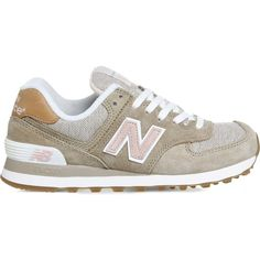 NEW BALANCE 574 panelled suede trainers ($100) ❤ liked on Polyvore featuring shoes, sneakers, beige pink beach, beach shoes, pink shoes, pink sneakers, round toe sneakers and lace up sneakers