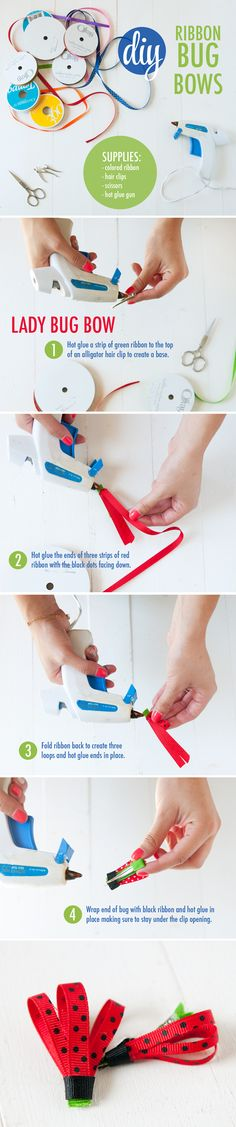 DIY Lady Bug Hair Bow ~ How to make lady bug bows out of ribbon and a hair clip