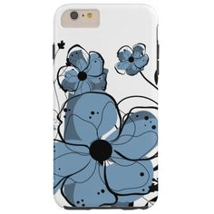 Modern Girly Blue and Black Flowers