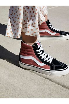 Vans Rust / Black 38 DX High Top Sneaker at Free People Clothing Boutique High Top Sneakers, Sneakers Mode, High Top Vans, Vans Sneakers, Vans Shoes, Sneakers Fashion, Vans Sk8 Hi Outfit, Sk8 Hi Vans, Cute Shoes