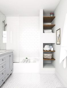 32 Brilliant Over the Toilet Storage Ideas that Make the Most of Your Space - The Trending House White Bathroom Interior, Gray And White Bathroom, White Vanity Bathroom, Bathroom Vanities, Master Bathroom Shower, Small Bathroom, Bathroom Ideas, Shower Ideas, Bad Styling
