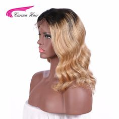 "Carina Hair Body Wave 180 Density Remy Brazilian Full Lace Human Hair Wigs blonde short wigs for black women 8""-16"""