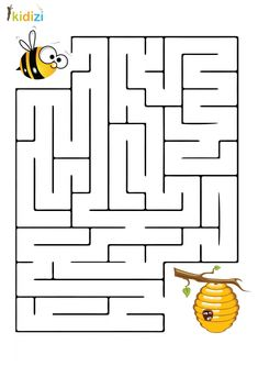 Maze educational plan 8 - Julia Home Word Puzzles For Kids, Fun Worksheets For Kids, Mazes For Kids, Printable Preschool Worksheets, Preschool Learning Activities, Kids Learning, Preschool Colors, Bee Theme, Kids Education