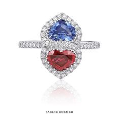 Sabine Roemer #oneofakindring #sapphire #ruby #diamond #heartring #doubleheartring #sabineroemer