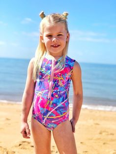 The Stinger Bodysuit makes the perfect garment for sun protection this summer. It will also keep your little swimmer warmer in the water longer. It is a comfortable, skirted bodysuit with the option of sleeveless, short , 3/4 or long sleeves. This is a complete outfit for a day out where there is water such as, waterparks, swimming in the pool or a day out at the lake or beach. Youth sizes available in 1-14. Little Swimmers, Bodysuit, Komplette Outfits, Sun Protection, Bathing Suits, Beachwear, Girls, Youth, Swimming