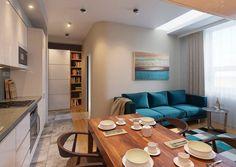 Az elegáns egyszerűség és funkcionalitás jegyében tervezte meg a 38 négyzetméteres kis lakás berendezését és dekorációját a lakberendező stúdió. Minden adott, ami kis alapterületen szükséges a kényelemhez - külön hálószoba, fürdőszoba zuhanyfülkével, nappali, konyha, étkező egy térben és egy nagy gardróbszekrény az előszobában.