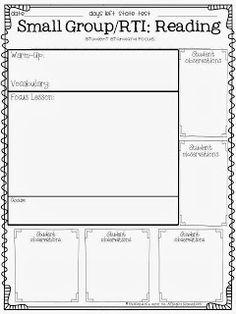 RTI For Kindergarten First Grade Second Grade Students Speech - Rti lesson plan template