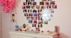 This is an awesome heart shaped photo collage! A tutorial for it can be found on MacBarbie07 's channel on YOUTUBE. She is AMAZEBALLS! I love her so much, and she actually initially came up with 'ROOMSPIRATION' so, check her out on Youtube, and subscribe to her please :)