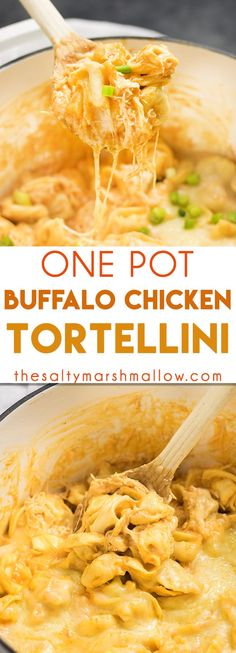 EASY One Pot Buffalo Chicken Tortellini: Easily a favorite one pot pasta that is ready in 20 minutes or less! This pasta is full of shredded chicken, buffalo sauce, ranch, and cheese!
