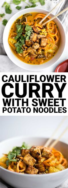 Cauliflower Curry with Sweet Potato Noodles: The most comforting dinner ever! Full of warming flavors and fresh vegetables, this vegan & gluten free curry will keep you feeling awesome.    fooduzzi.com recipe