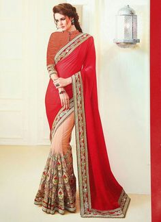 Real magnificence comes out of your dressing design with this rose pink faux georgette classic saree. The ethnic embroidered and patch border work for the apparel adds a sign of magnificence statement. Party Wear Sarees Online, Party Sarees, Bandhani Saree, Sari, Lehenga Gown, Anarkali, Trendy Sarees, Latest Designer Sarees, Indian Sarees Online