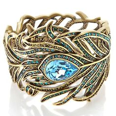 """Love this and her jewelry ! Heidi Daus """"Pretty as a Peacock"""" Crystal Bangle Bracelet at HSN.com."""