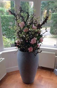 Specialist in decoraties op maat Orchid Flower Arrangements, Flower Arrangement Designs, Artificial Floral Arrangements, Vase Arrangements, Artificial Plants, Flower Vases, Flower Pots, Decorating With Sticks, Sitting Room Decor