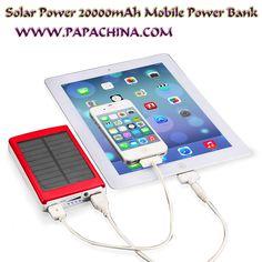 Solar Power 20000mAh Mobile #Powerbank bulk Wholesale Supplier from PapaChina. Please visit www.Papachina.com