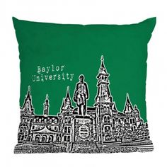 DENY Designs Bird Ave Baylor University Green Throw Pillow ($45) ❤ liked on Polyvore featuring home, home decor, throw pillows, deny designs, deny designs home accessories, polyester throw pillows, green throw pillows and green accent pillows