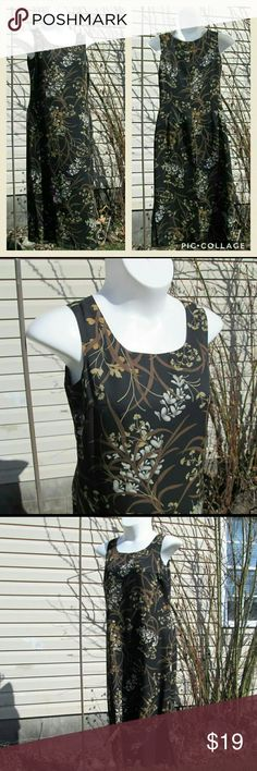"""😎 Botanical Print Maxi Dress Black maxi sheath. Earth tones print layer over sheer black lining.  3/4 back zip, 1 side slit.  Includes matching button up top,  also pairs well with plain black shorts, slacks etc.  Measured flat.  Dress. 19"""" pit to pit.  18"""" across waist. 21"""" across hips. 52"""" total length.   Top. 20"""" pit to pit.  24"""" long. On 36"""" x 31"""" x 36"""" mani.  Measures like woman's  10/12 Laura Scott Dresses"""