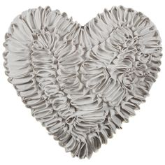 Romance Ruffle Heart Cushion - Silver. These heart cushions are so cute, they'll add glamour to any room! Dimensions: 30 x 40cm (Approx.) - B&M.